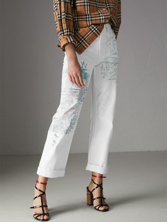 Straight Fit Postcard Print Japanese Denim Jeans in Natural White