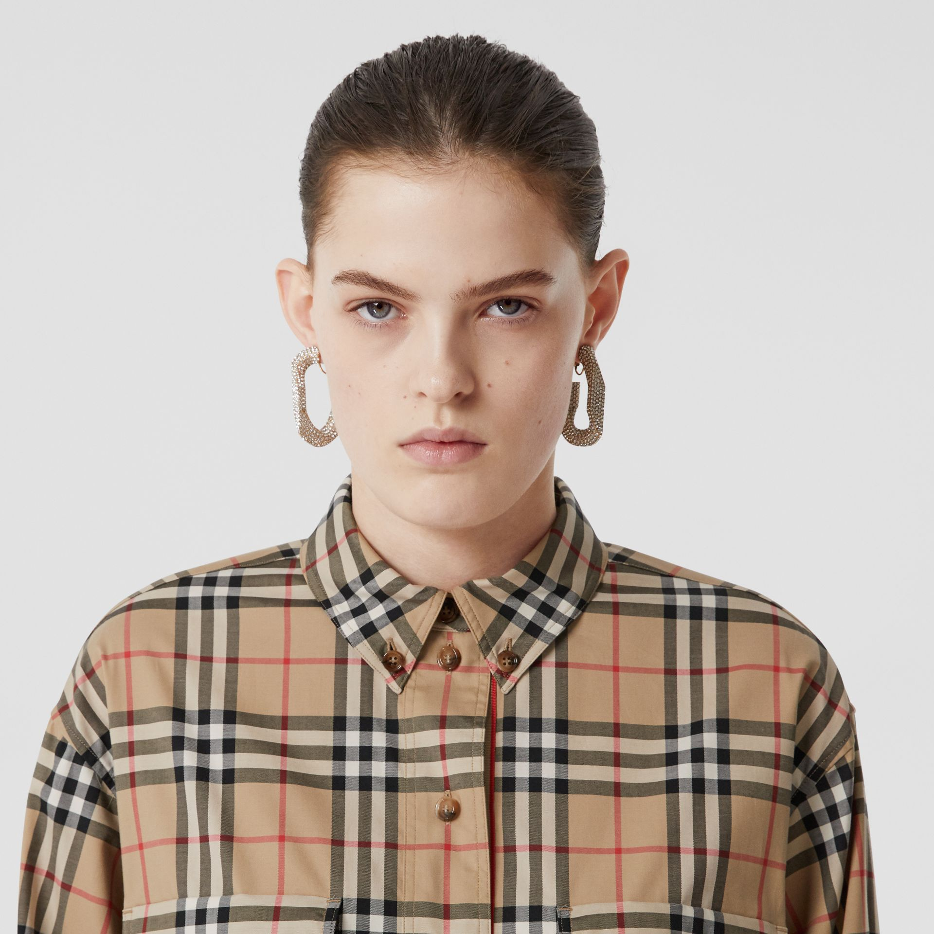Vintage Check Stretch Cotton Oversized Shirt in Archive Beige - Women | Burberry United Kingdom - gallery image 1