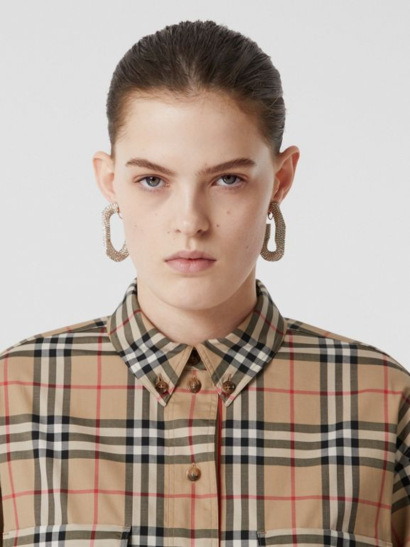 Vintage Check Stretch Cotton Oversized Shirt in Archive Beige - Women | Burberry United Kingdom - cell image 1
