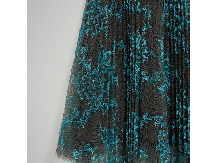 Pleated Lace Skirt in Bright Blue/taupe - Girl | Burberry - cell image 4