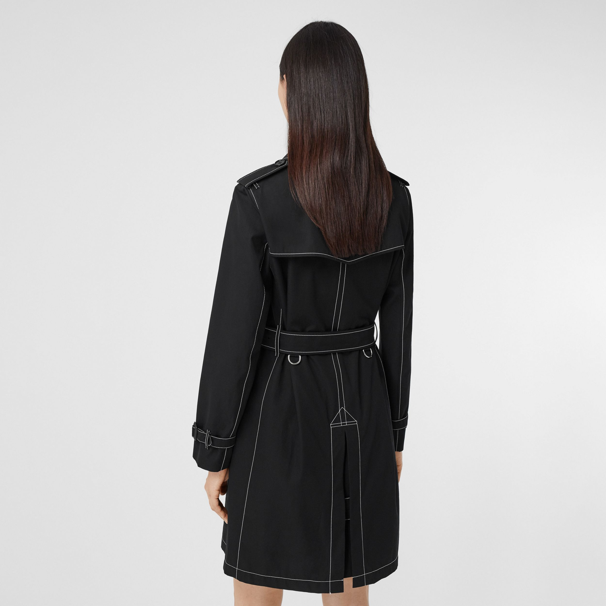 Topstitched Tropical Gabardine Trench Coat in Black - Women | Burberry - 3