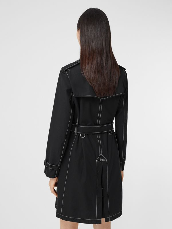 Topstitched Tropical Gabardine Trench Coat in Black - Women | Burberry - cell image 2