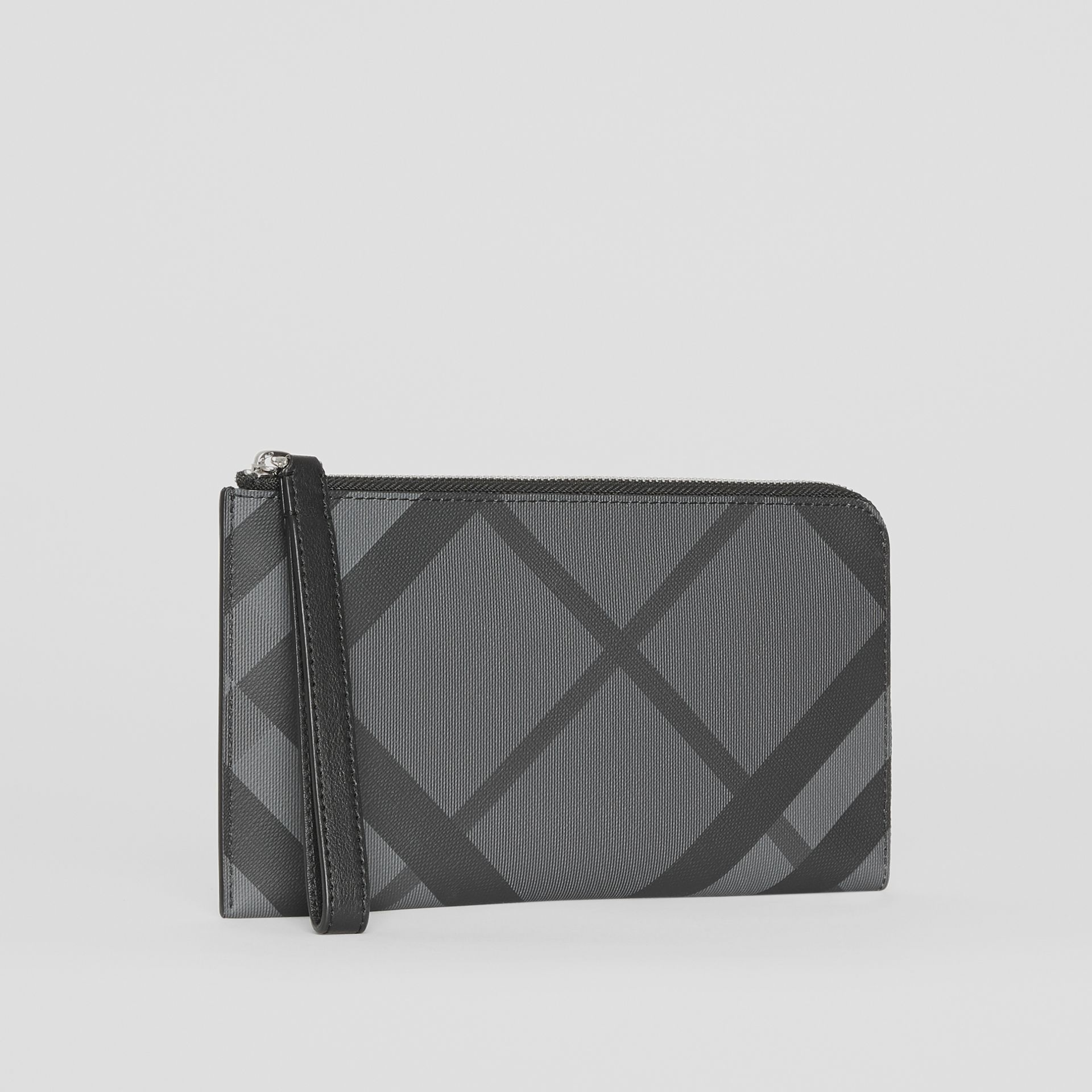 London Check and Leather Travel Wallet in Charcoal/black - Men | Burberry United States - gallery image 6