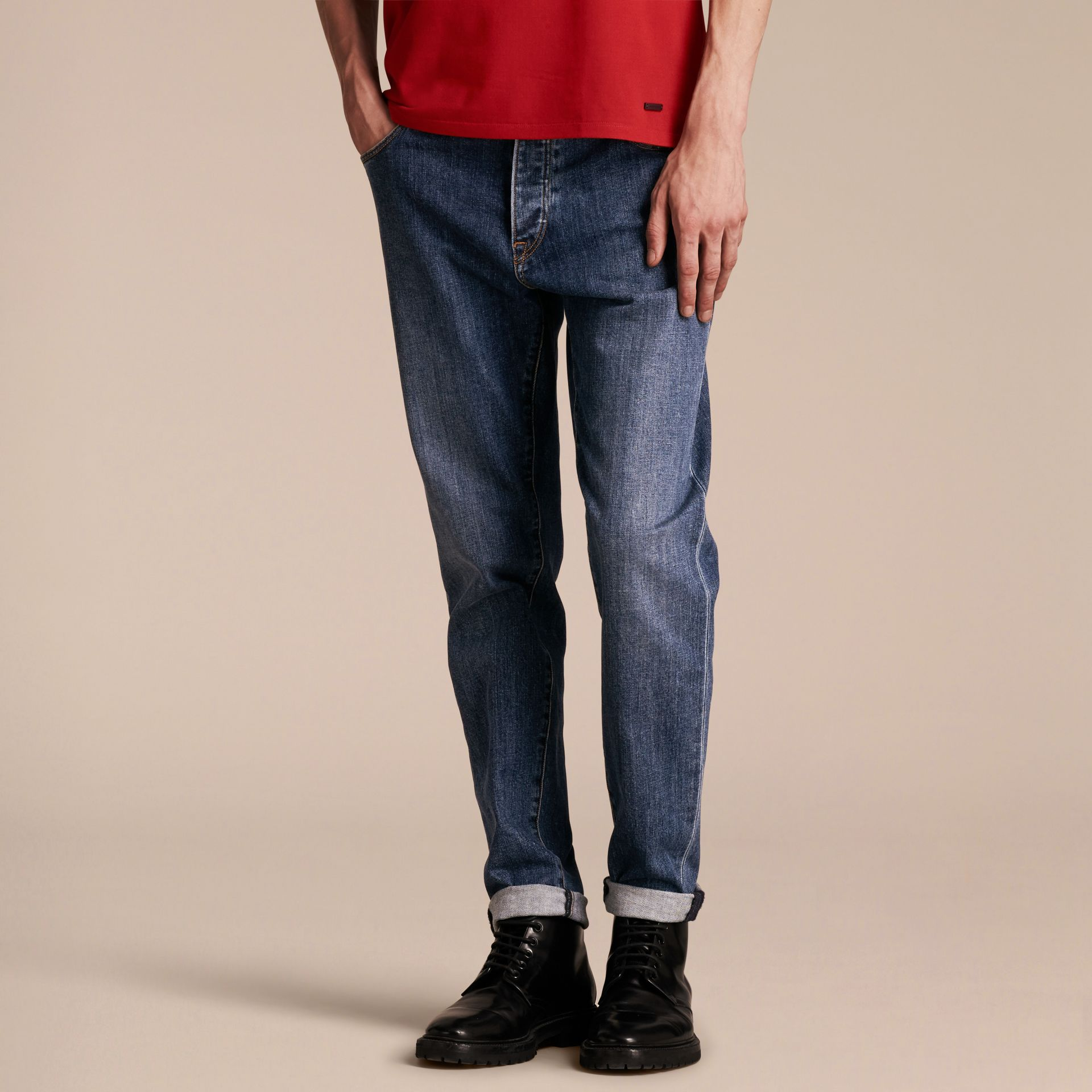 Relaxed Fit Japanese Stretch Denim Jeans - Men | Burberry - gallery image 7