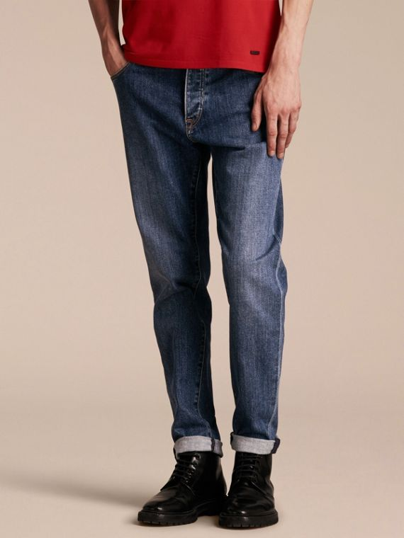 Relaxed Fit Japanese Stretch Denim Jeans in Mid Indigo