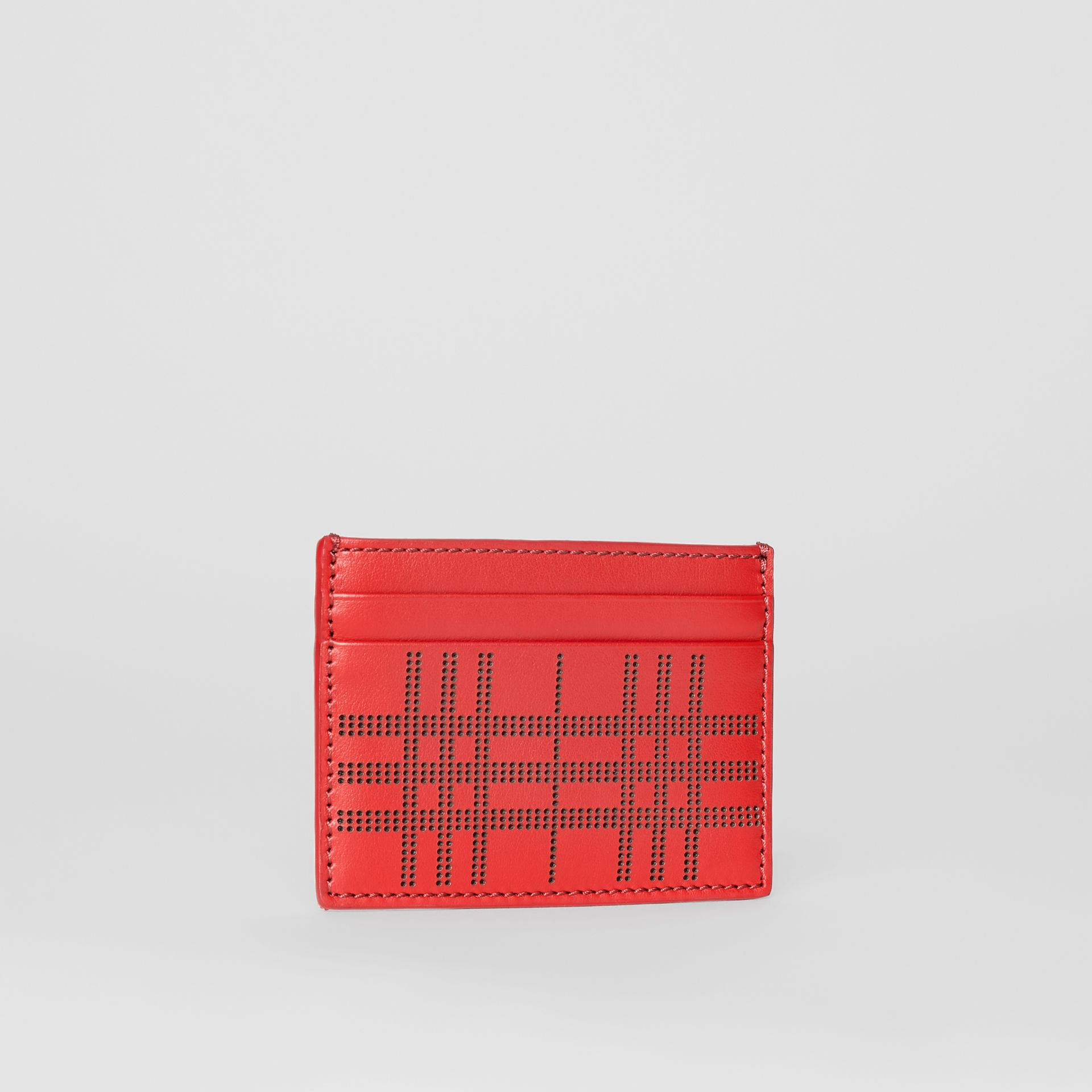 Perforated Check Leather Card Case in Rust Red | Burberry - gallery image 4