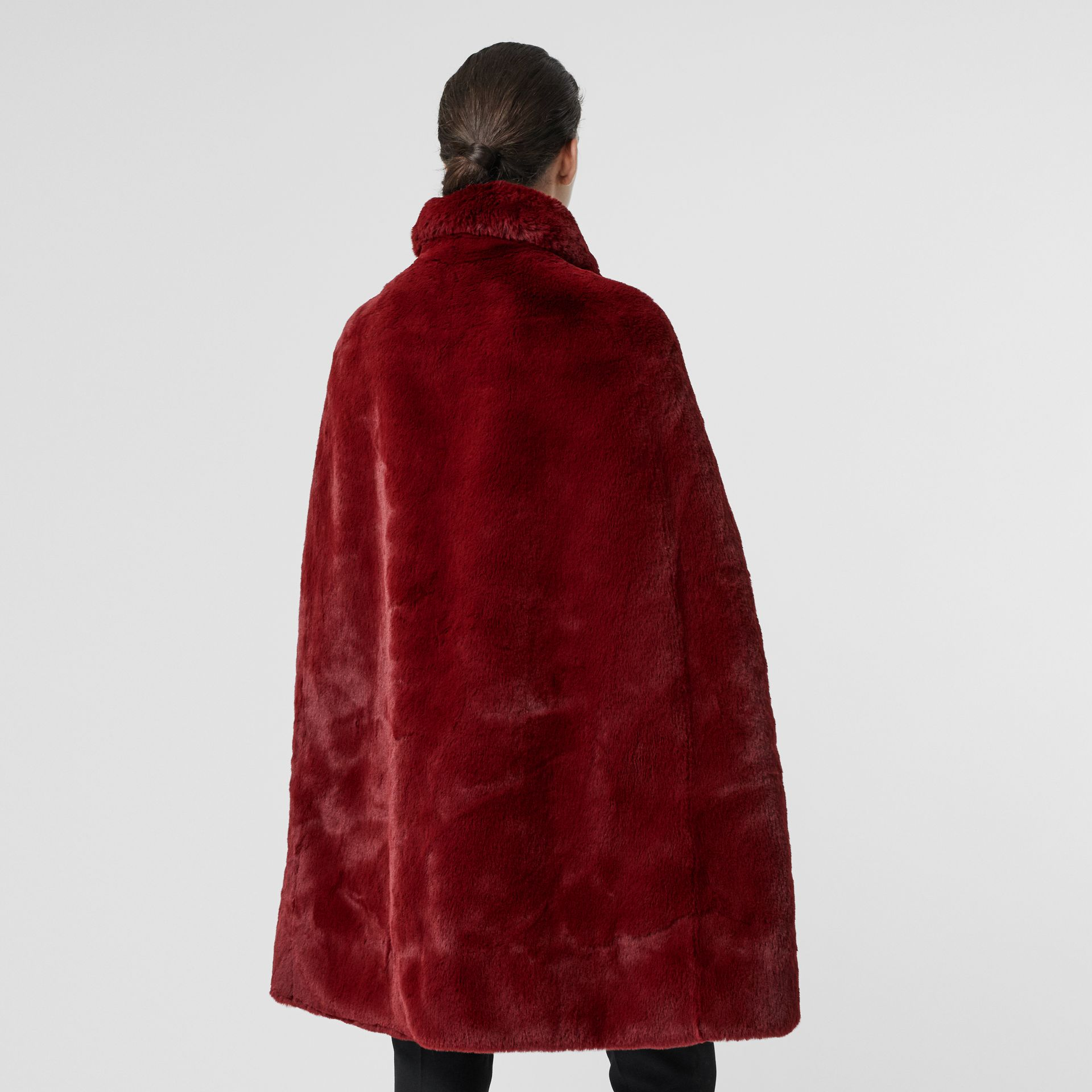 Faux Fur Cape in Burgundy - Women | Burberry - gallery image 2