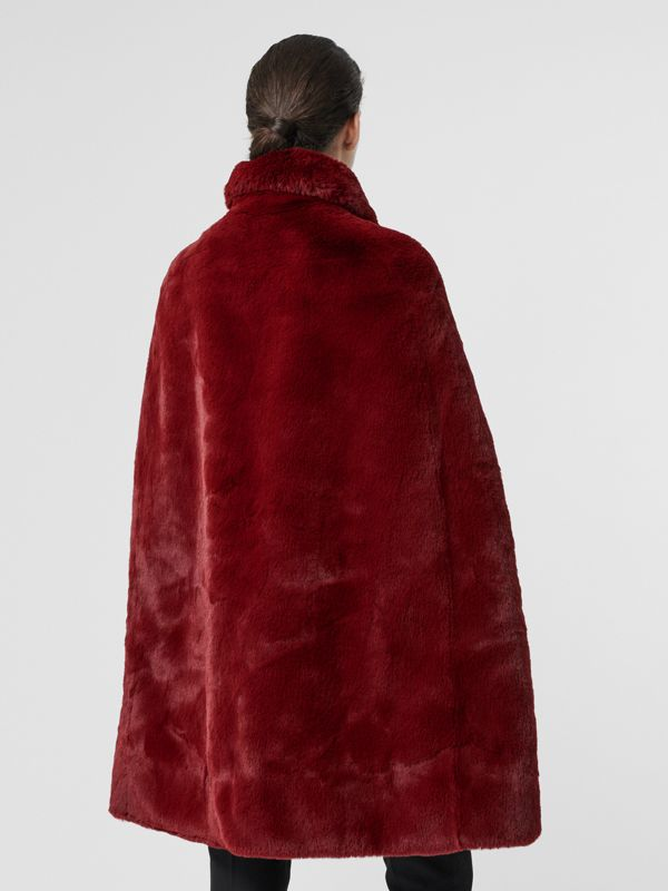 Faux Fur Cape in Burgundy - Women | Burberry - cell image 2