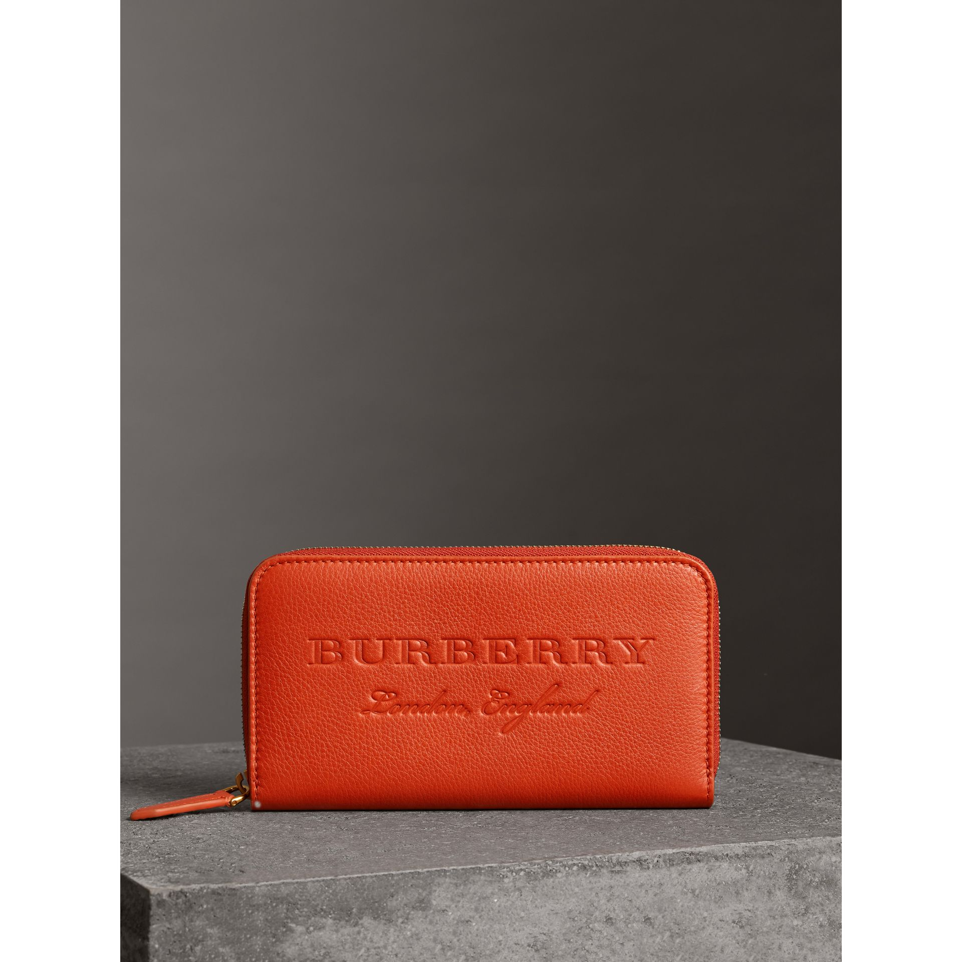 Embossed Leather Ziparound Wallet in Dark Clementine - Women | Burberry Canada - gallery image 4