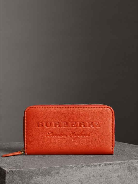 Embossed Leather Ziparound Wallet in Dark Clementine