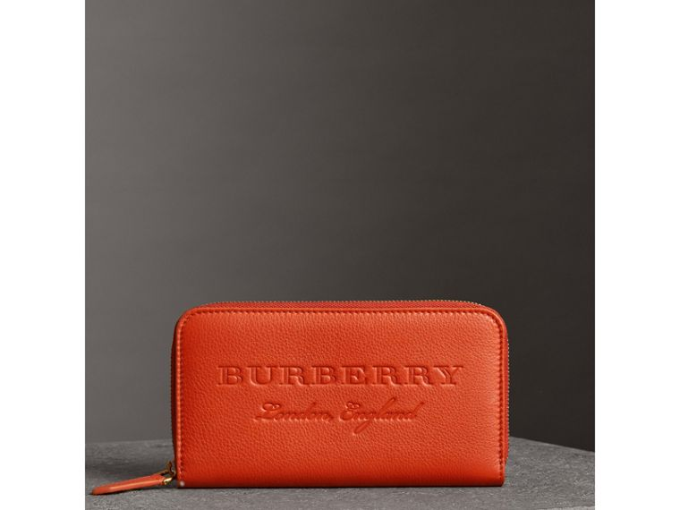 Embossed Leather Ziparound Wallet in Dark Clementine - Women | Burberry - cell image 4