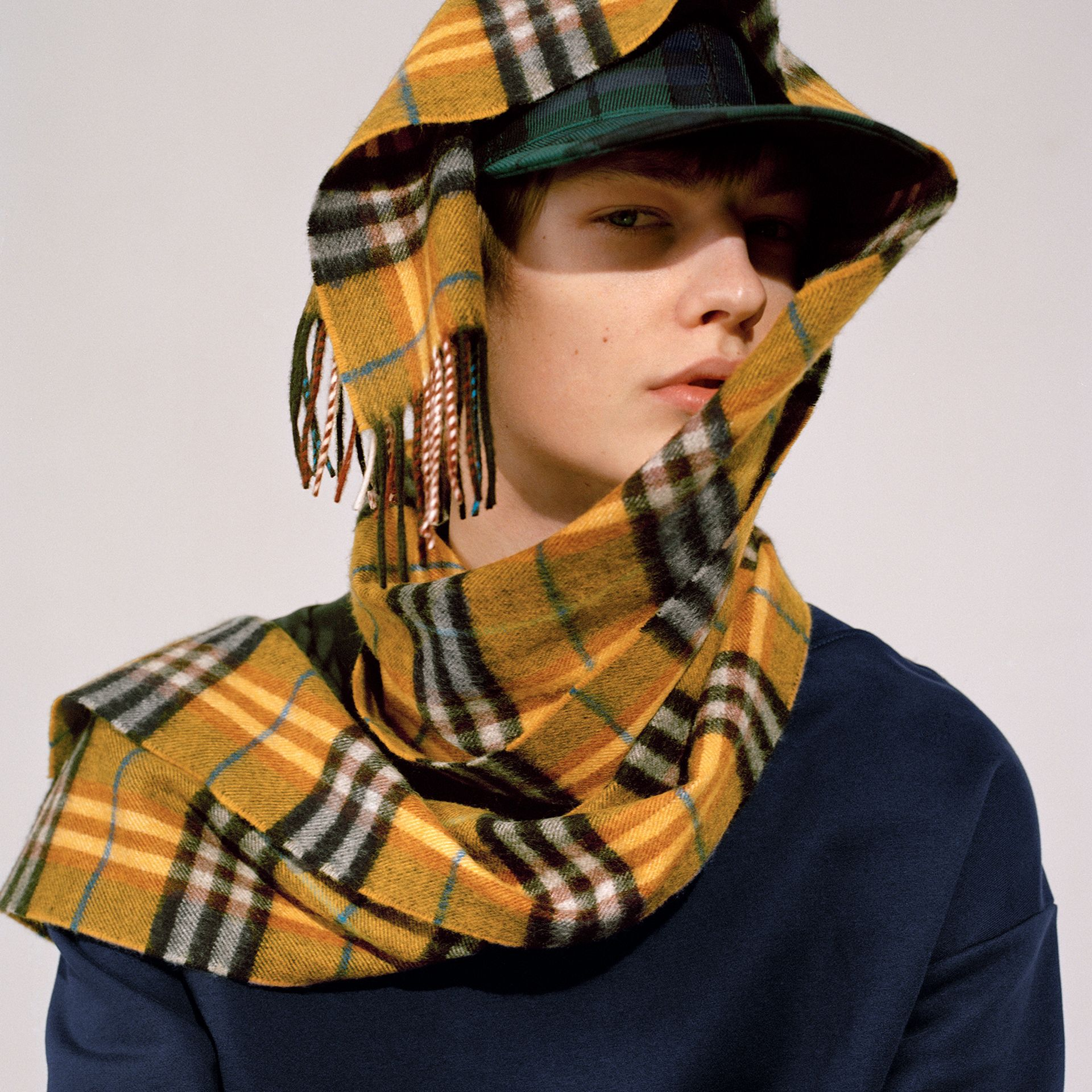 Check Cashmere Scarf in Amber Yellow | Burberry Hong Kong - gallery image 4