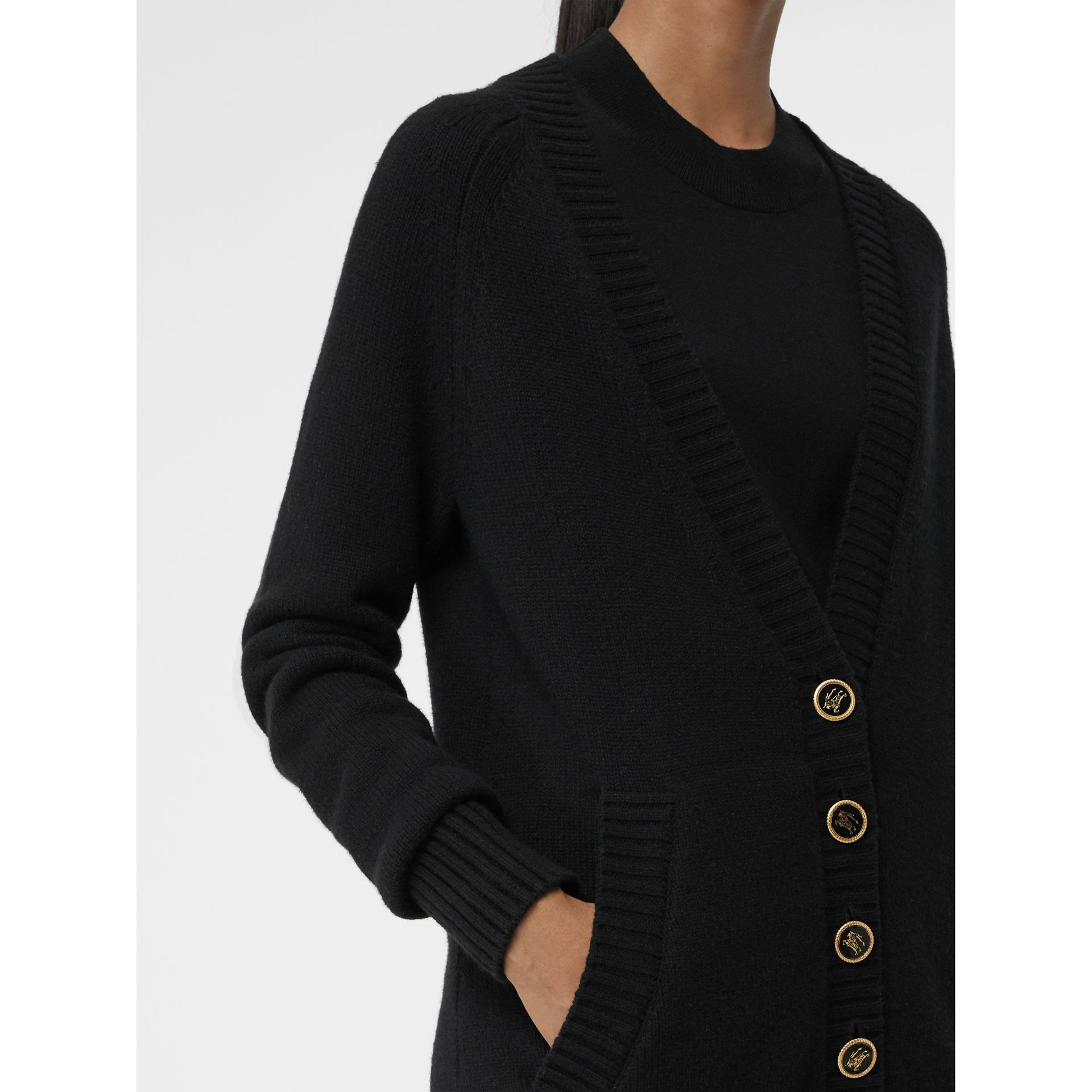 Logo Button Cashmere Cardigan in Black - Women | Burberry - gallery image 1