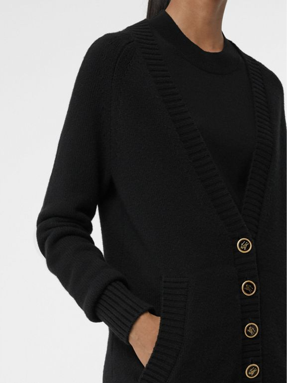Logo Button Cashmere Cardigan in Black - Women | Burberry - cell image 1