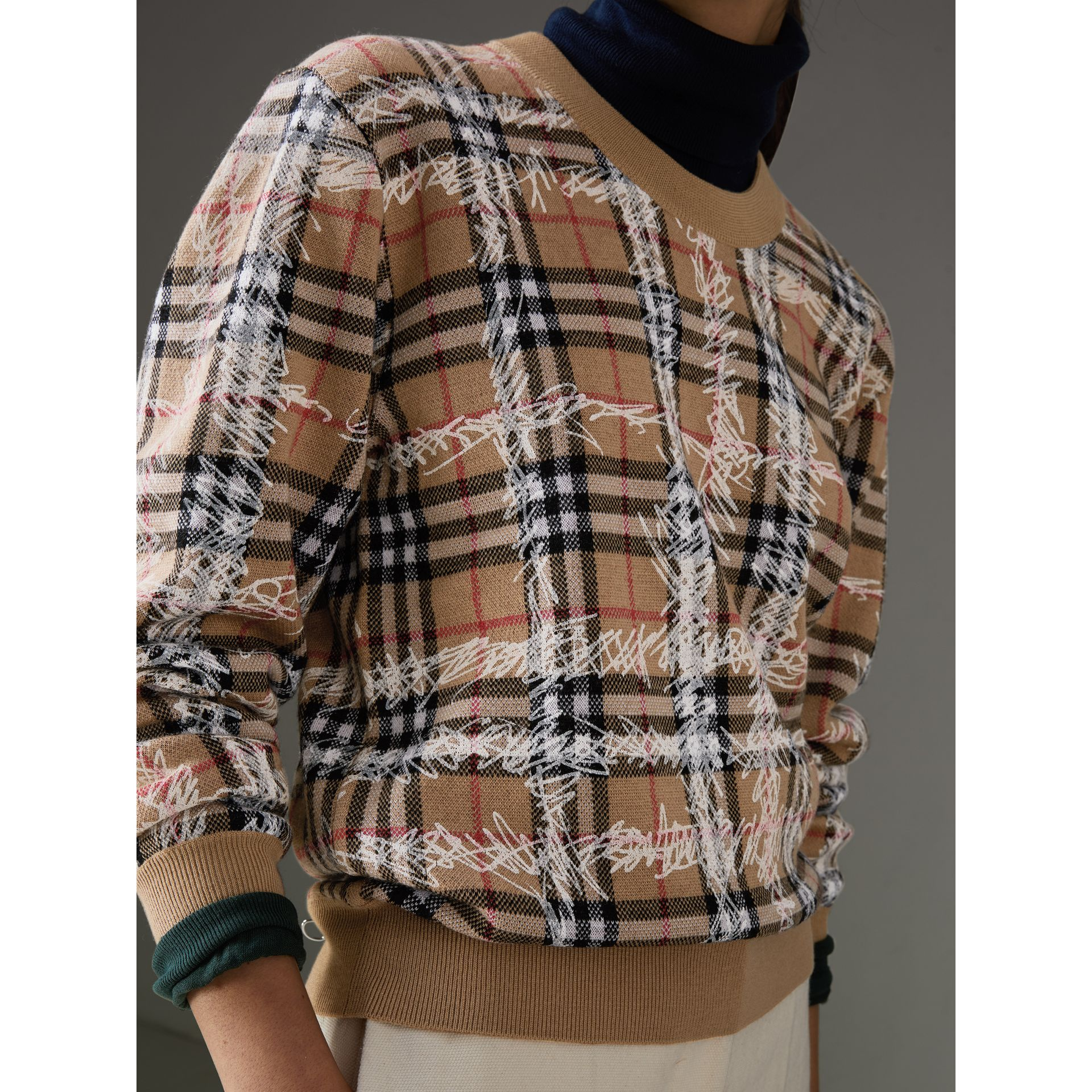 Scribble Check Merino Wool Sweater in Camel/white - Women | Burberry Australia - gallery image 1