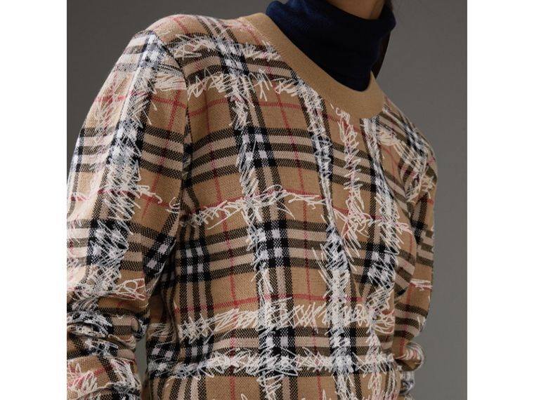Scribble Check Merino Wool Sweater in Camel/white - Women | Burberry Singapore - cell image 1