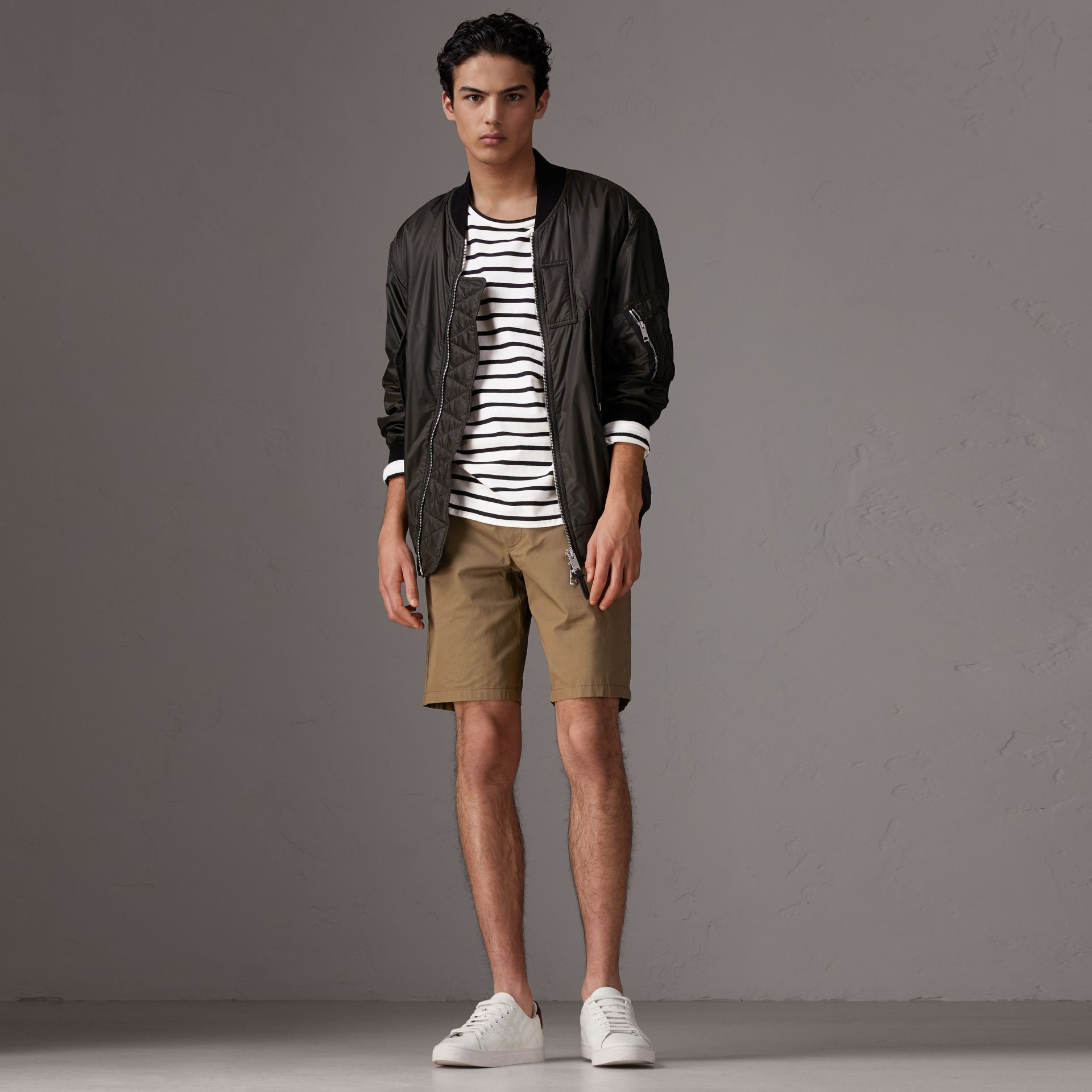 Cotton Twill Chino Shorts in Olive Green - Men | Burberry Canada - gallery image 0