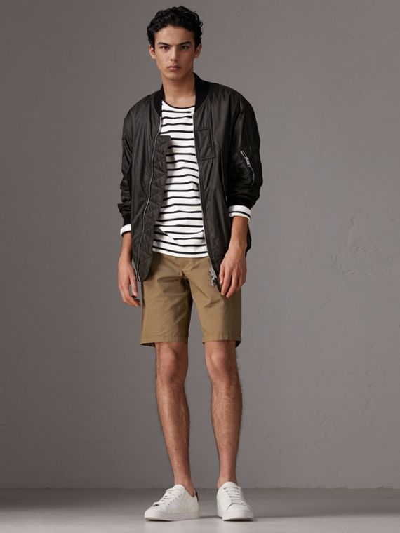 Cotton Twill Chino Shorts in Olive Green