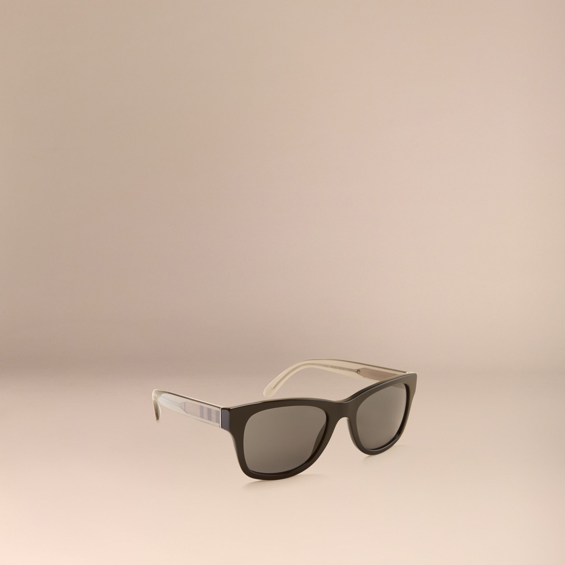 Black Check Detail Square Frame Sunglasses Black - gallery image 1
