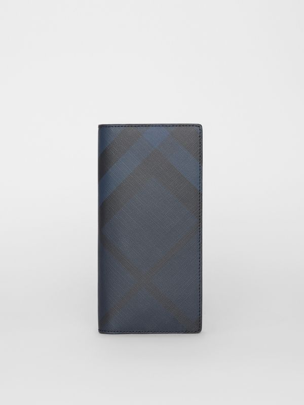 London Check and Leather Continental Wallet in Navy/black - Men | Burberry United Kingdom - cell image 2
