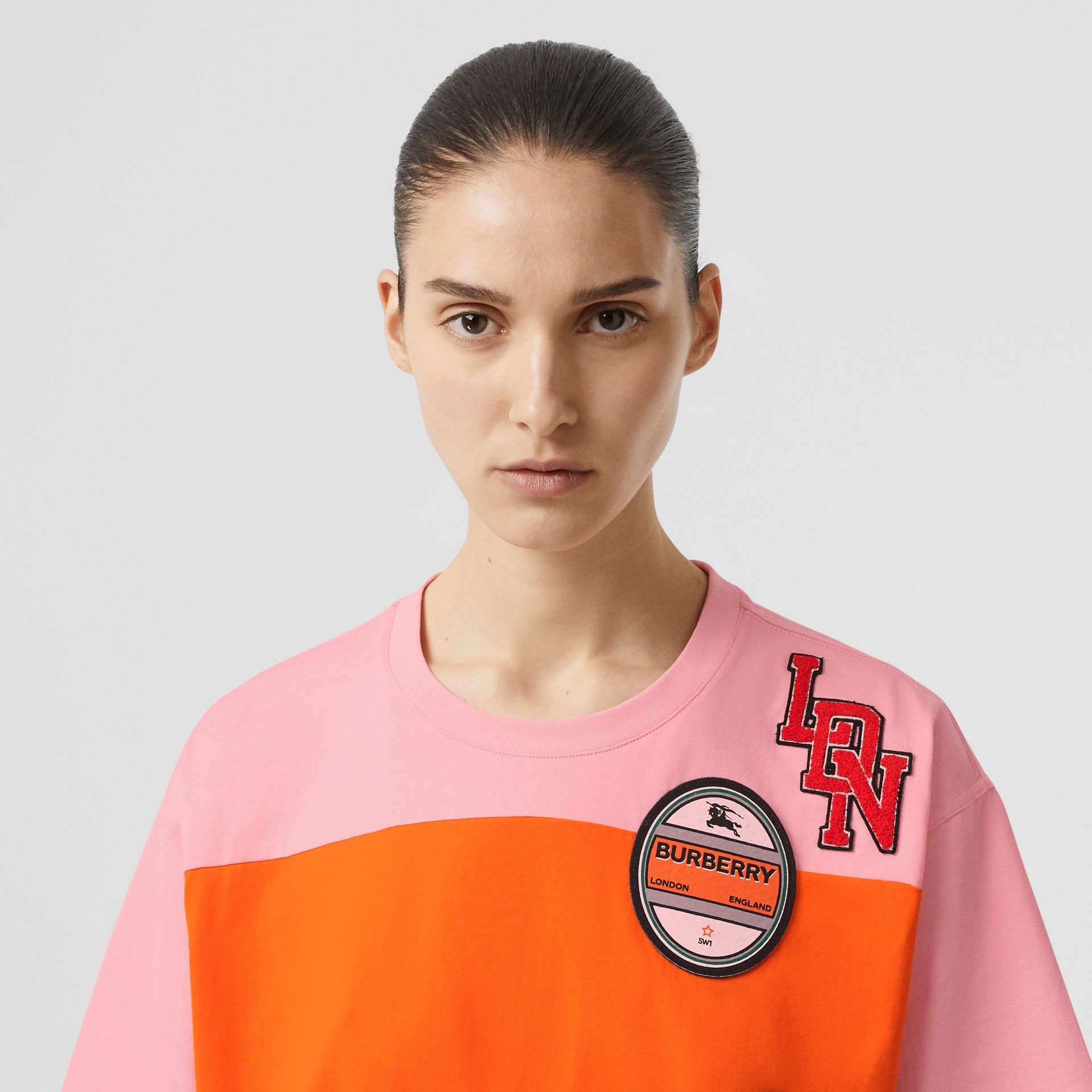Logo Graphic Panelled Cotton Oversized T-shirt in Candy Pink - Women | Burberry Australia - gallery image 1