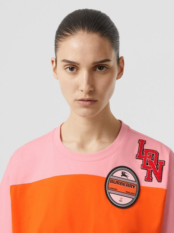Logo Graphic Panelled Cotton Oversized T-shirt in Candy Pink - Women | Burberry - cell image 1