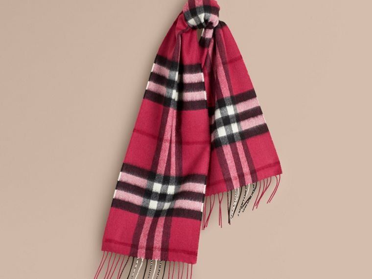 Fuchsia pink The Mini Classic Cashmere Scarf in Check Fuchsia Pink - cell image 4