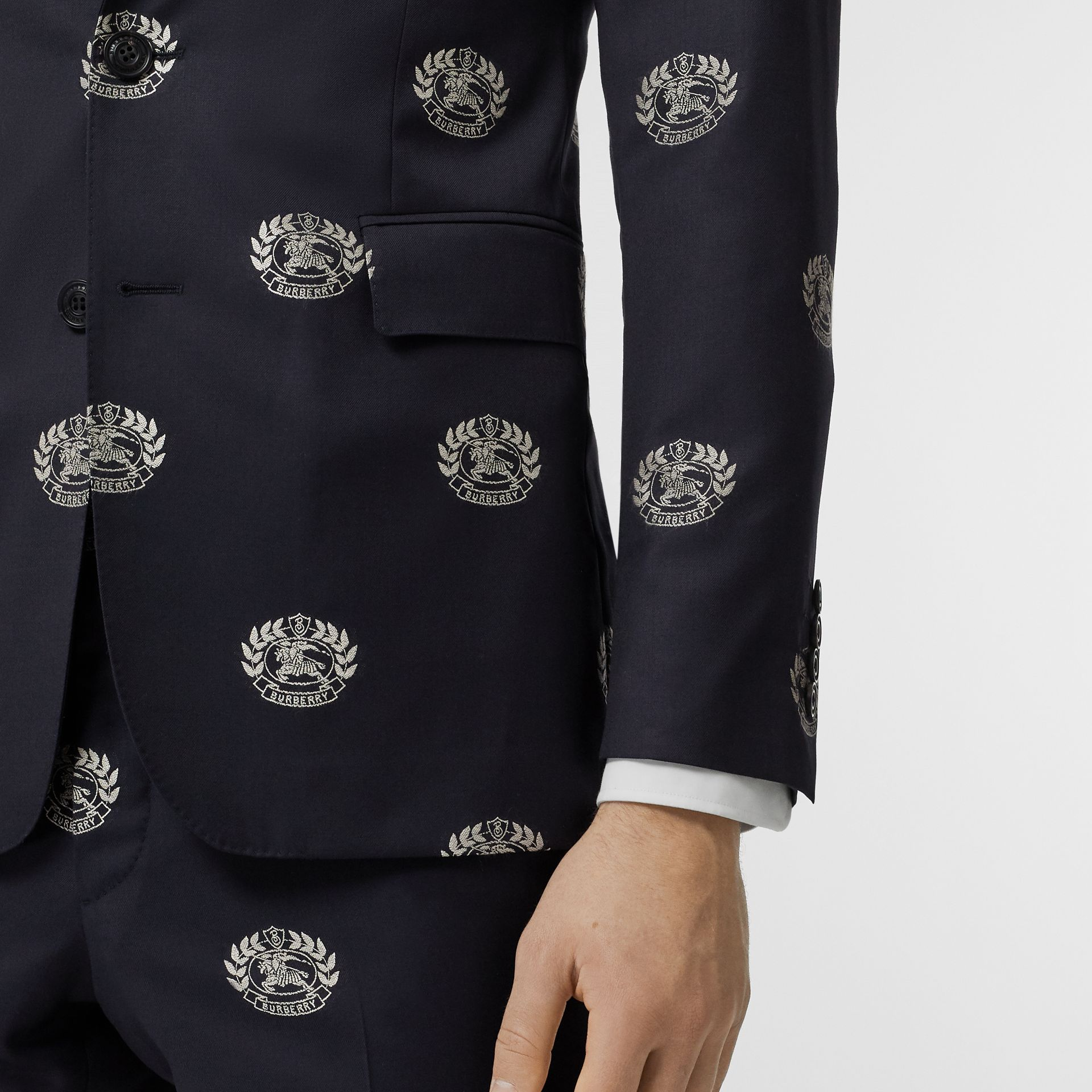 Slim Fit Fil Coupé Crest Wool Tailored Jacket in Midnight Blue - Men | Burberry - gallery image 4