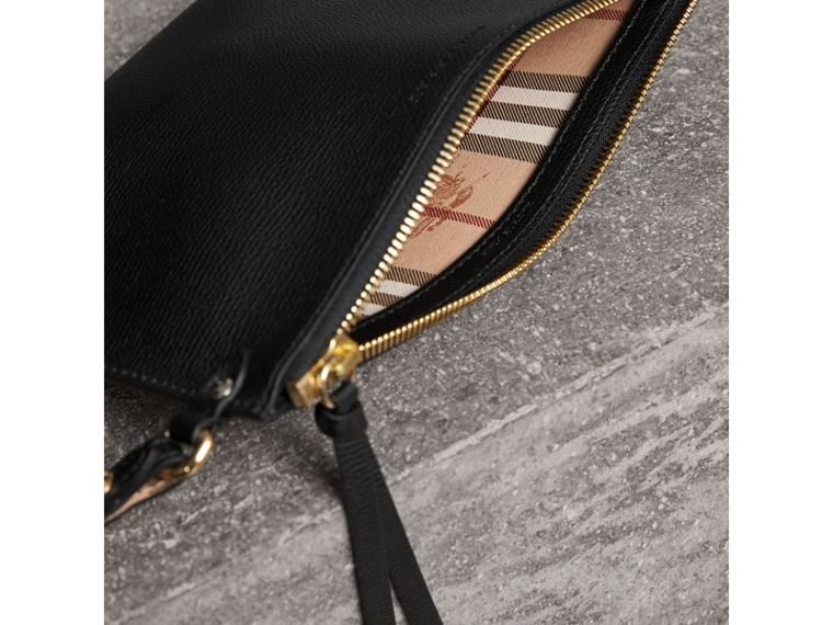 Haymarket Check and Leather Pouch in Black - Women | Burberry Canada - cell image 4