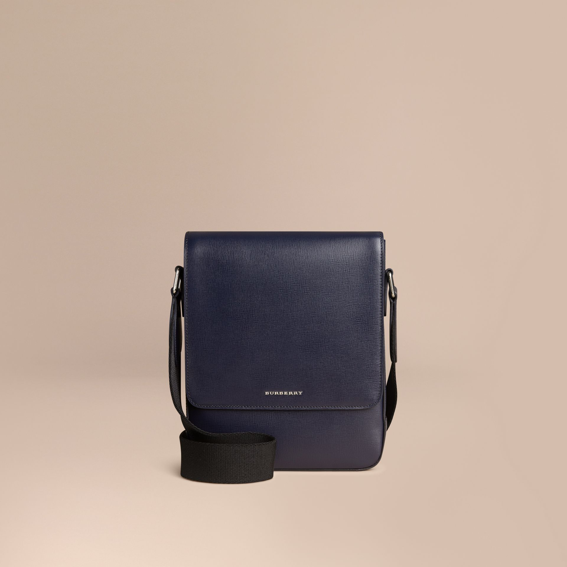 Navy scuro Borsa a tracolla in pelle London Navy Scuro - immagine della galleria 7