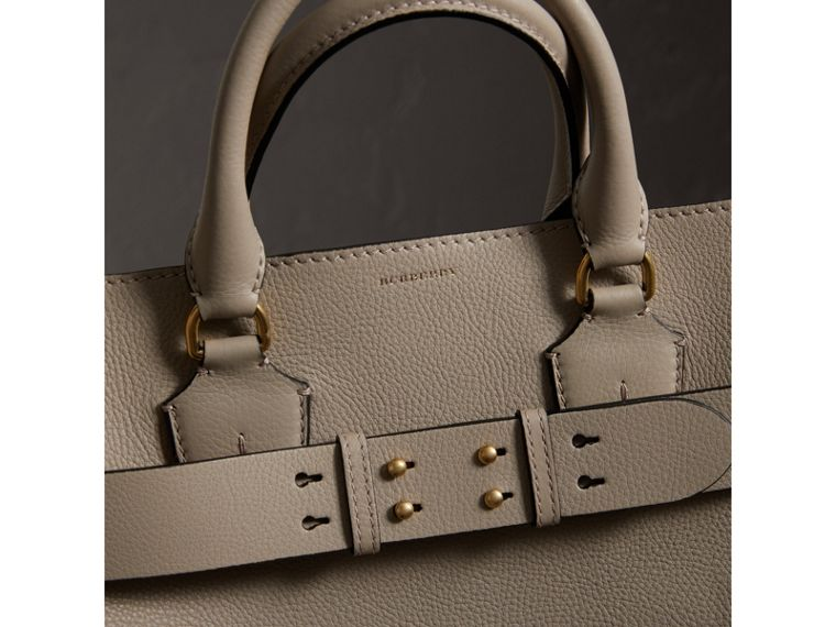 The Large Leather Belt Bag in Mineral Grey | Burberry - cell image 1