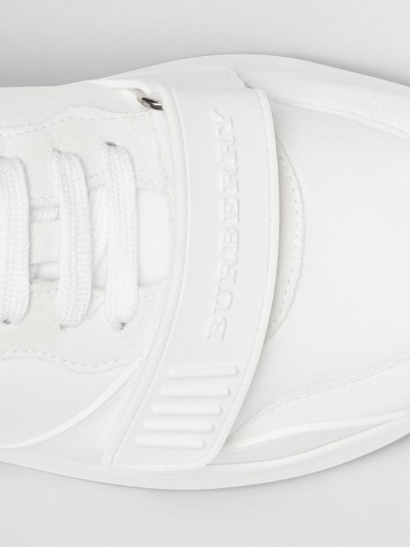 Suede, Neoprene and Leather Sneakers in Optic White - Men | Burberry - cell image 1