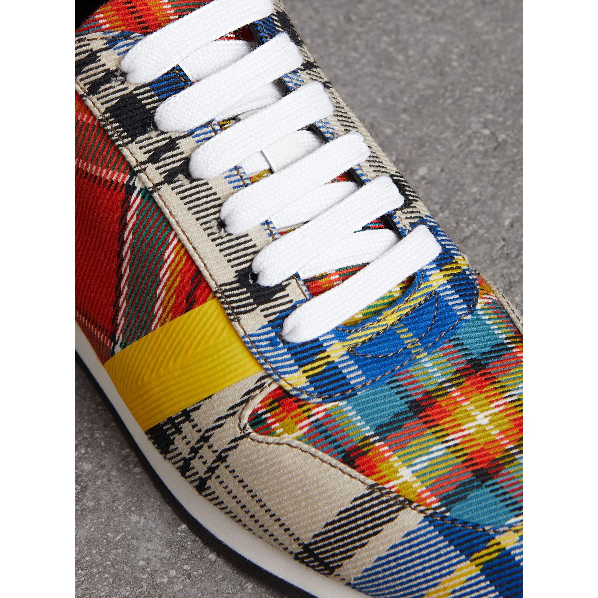 Tartan Cotton Sneakers in Chalk White - Women | Burberry United Kingdom - gallery image 1