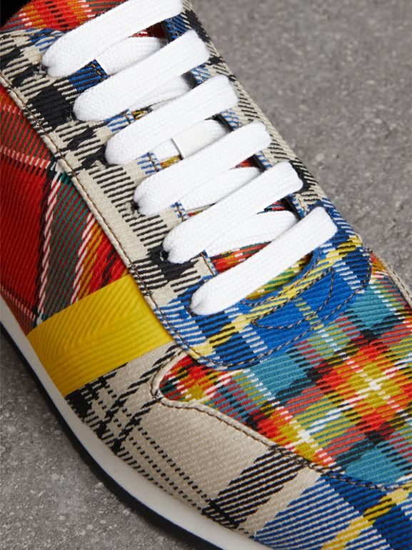 Tartan Cotton Sneakers in Chalk White - Women | Burberry Australia - cell image 1