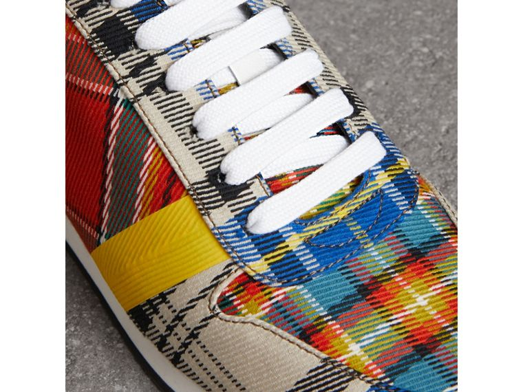 Tartan Cotton Sneakers in Chalk White - Women | Burberry - cell image 1