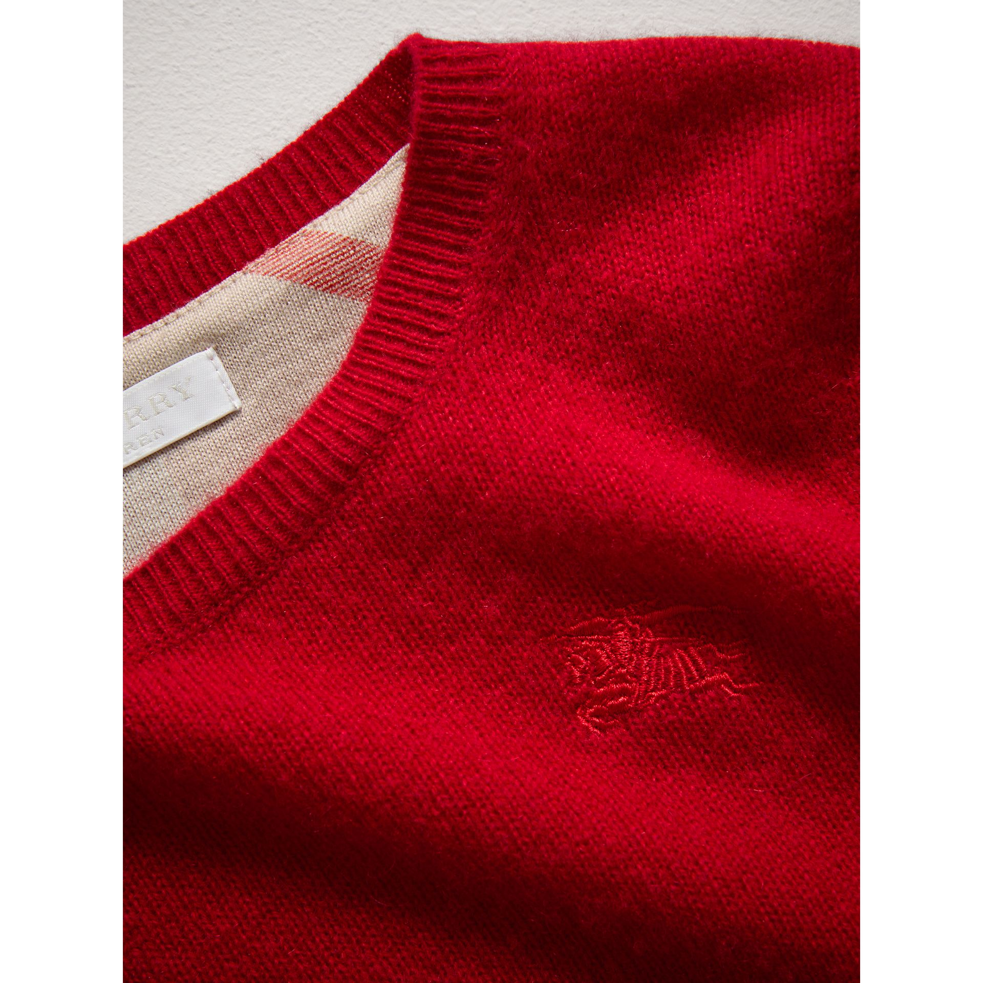Check Elbow Patch Cashmere Sweater in Parade Red - Boy | Burberry - gallery image 1