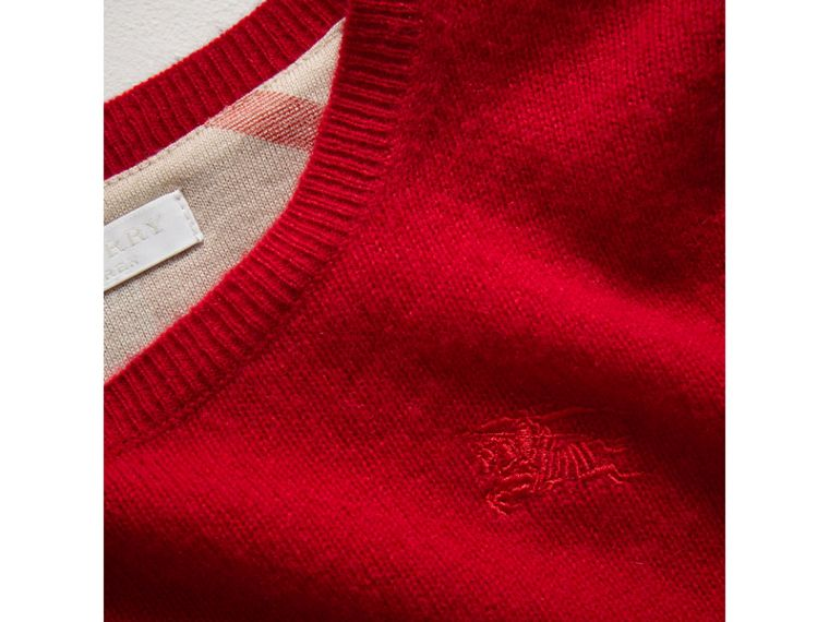 Check Elbow Patch Cashmere Sweater in Parade Red - Boy | Burberry - cell image 1