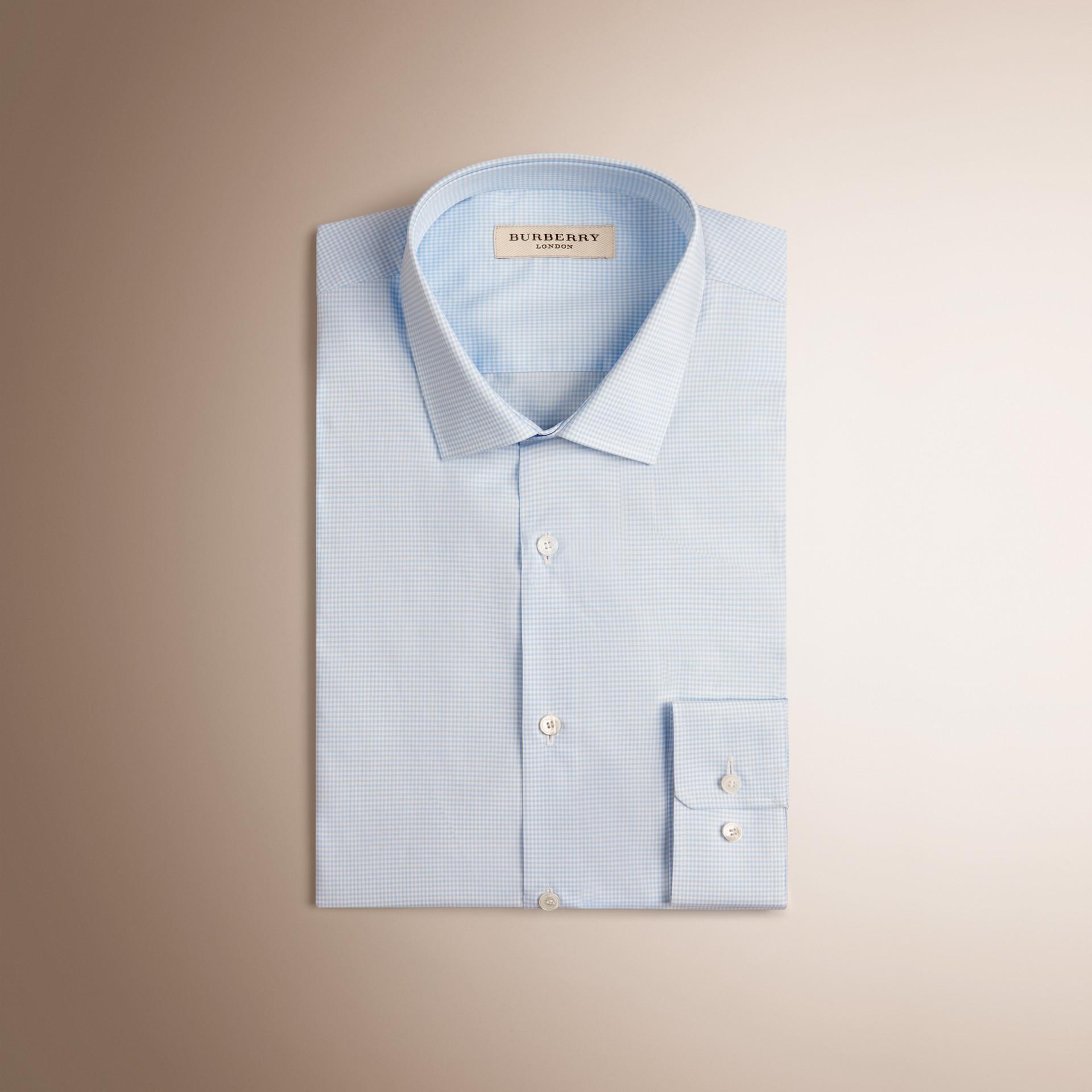 City blue Slim Fit Gingham Cotton Poplin Shirt City Blue - gallery image 1