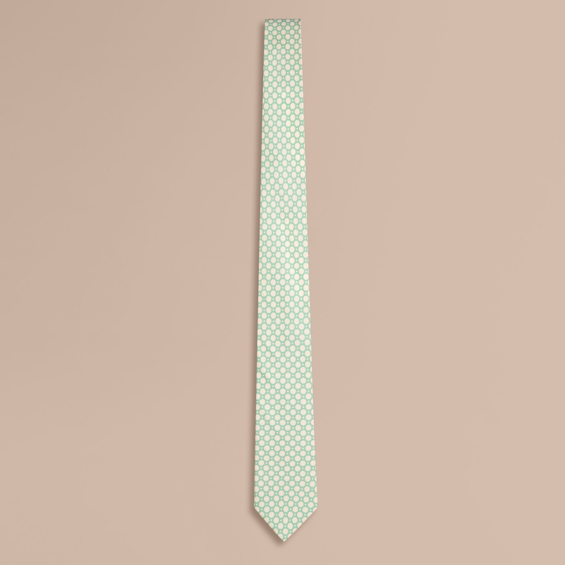 Aqua green Slim Cut Polka Dot Silk Tie Aqua Green - gallery image 1