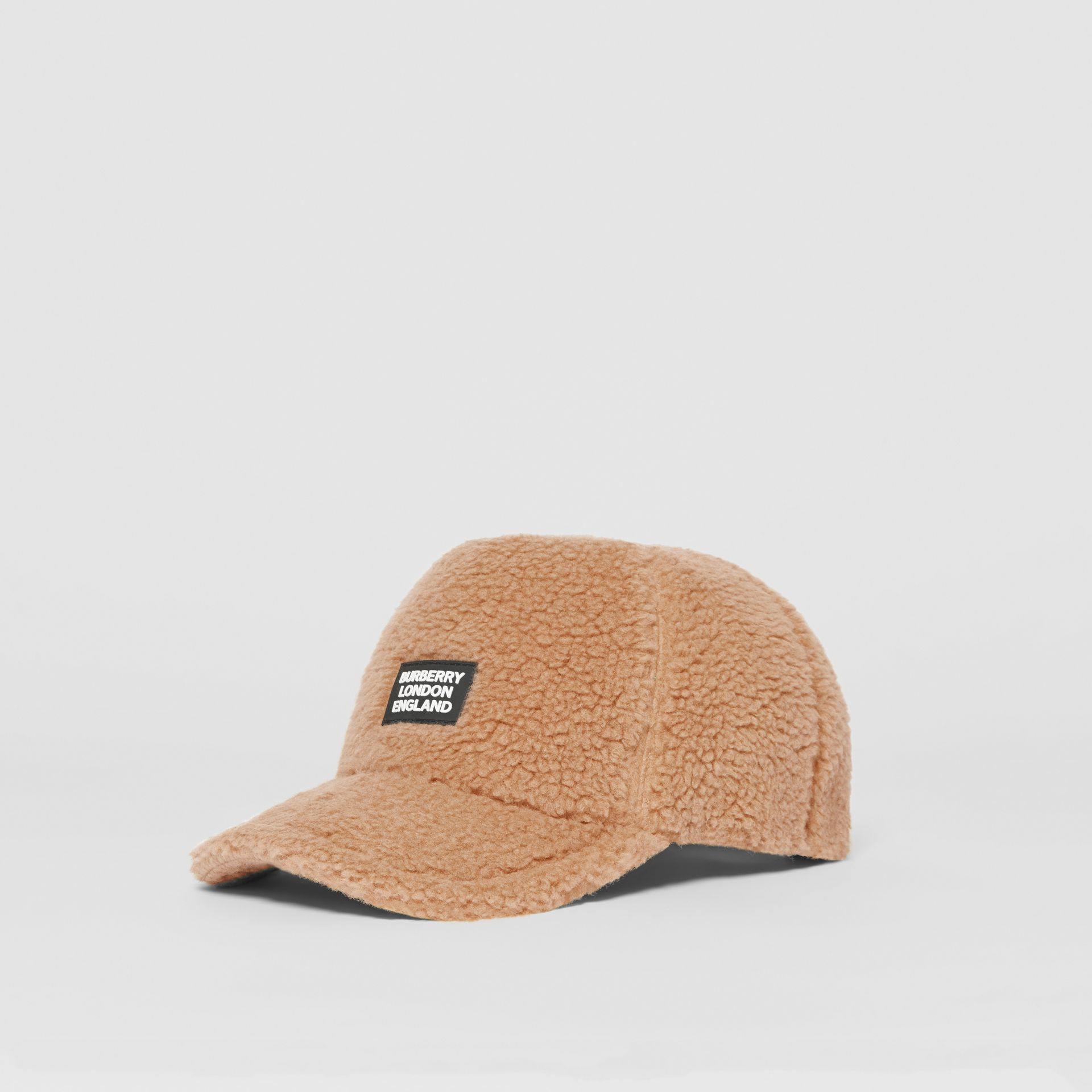 Logo Detail Faux Fur Baseball Cap in Camel | Burberry United Kingdom - gallery image 4