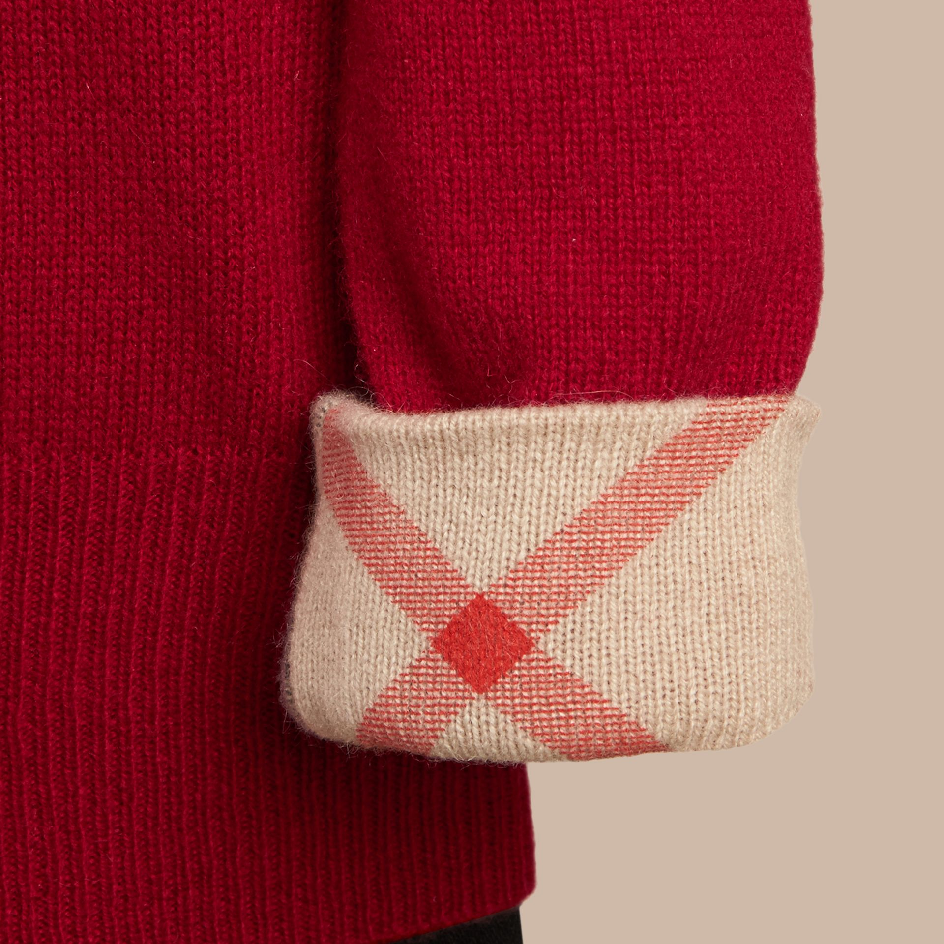 Check Cuff Cashmere Sweater Parade Red - gallery image 2