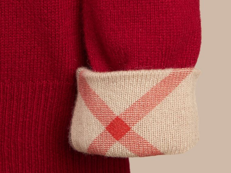 Check Detail Cashmere Sweater in Parade Red - Girl | Burberry - cell image 1