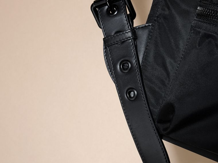 The Large Rucksack in Technical Nylon and Leather in Black - cell image 4