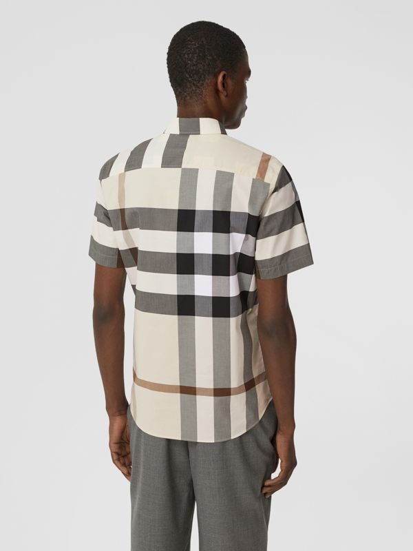 Short-sleeve Check Stretch Cotton Poplin Shirt in Modern Beige - Men | Burberry United Kingdom - cell image 2