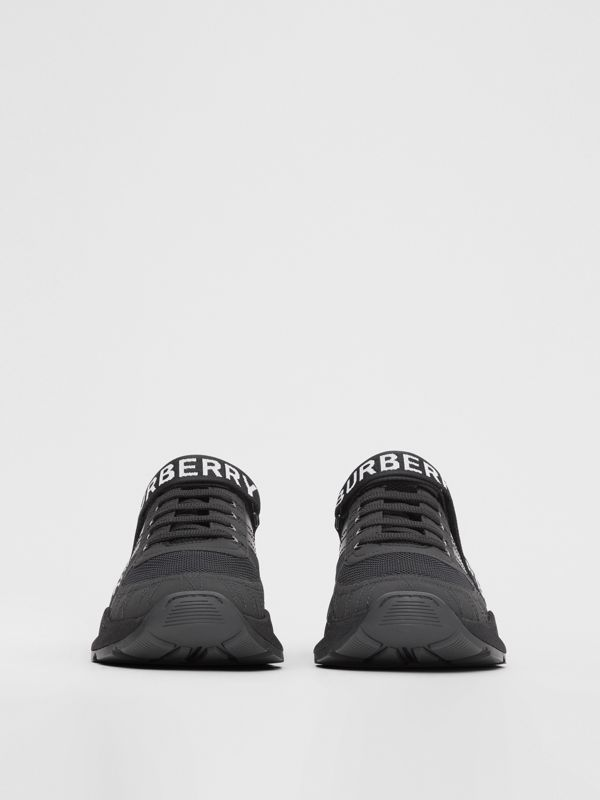Logo Detail Leather, Nubuck and Mesh Sneakers in Black - Men | Burberry - cell image 2