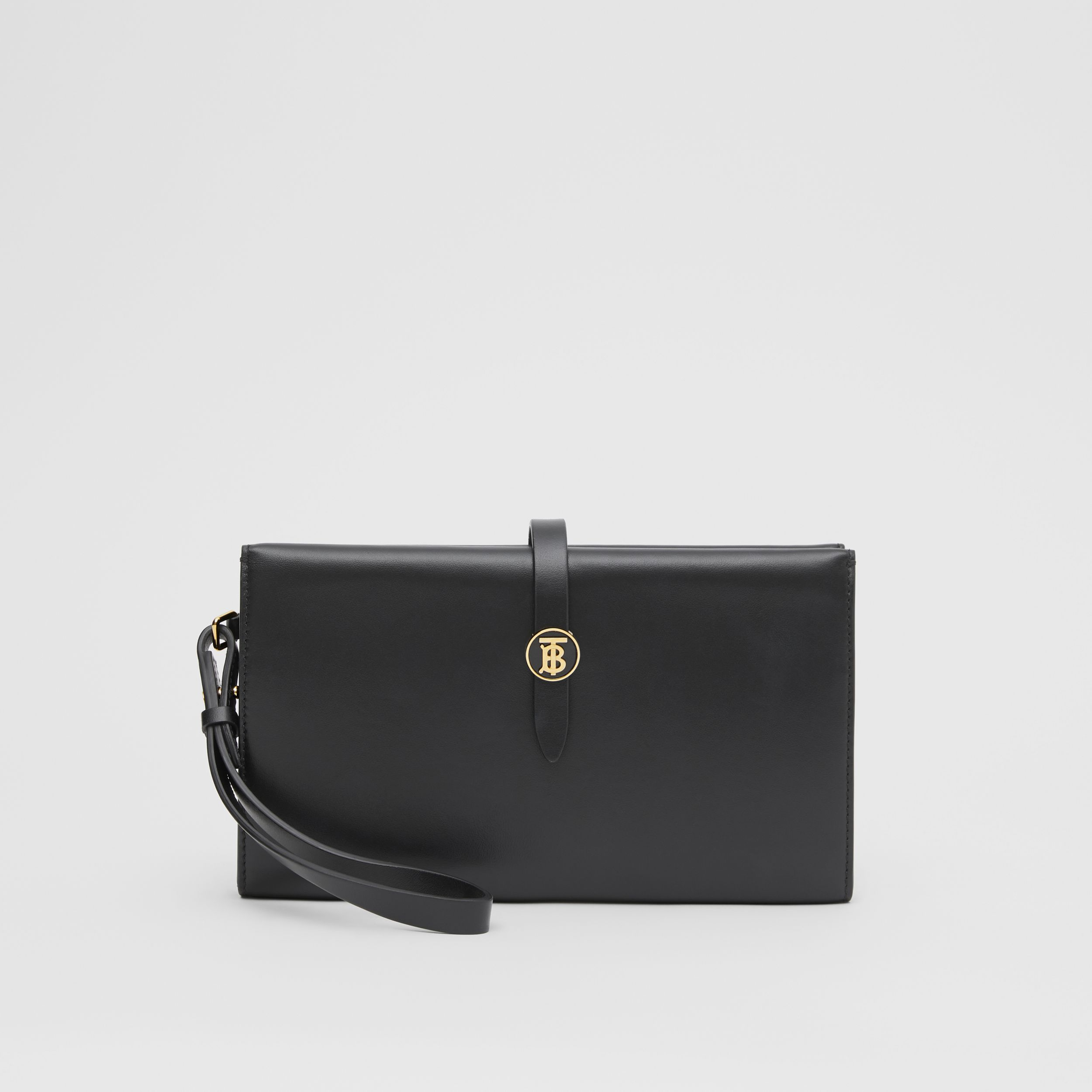 Large Monogram Motif Leather Folding Wallet in Black - Women | Burberry Hong Kong S.A.R. - 1