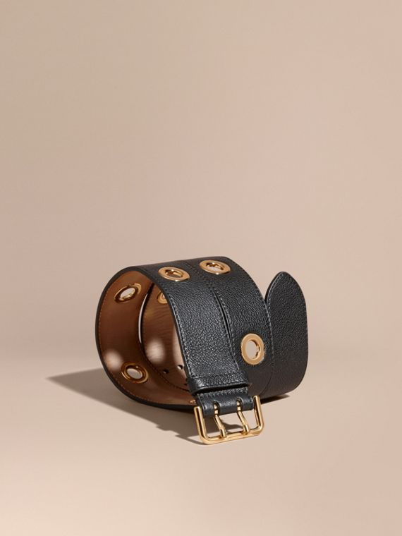 Eyelet Detail Grainy Leather Belt Black