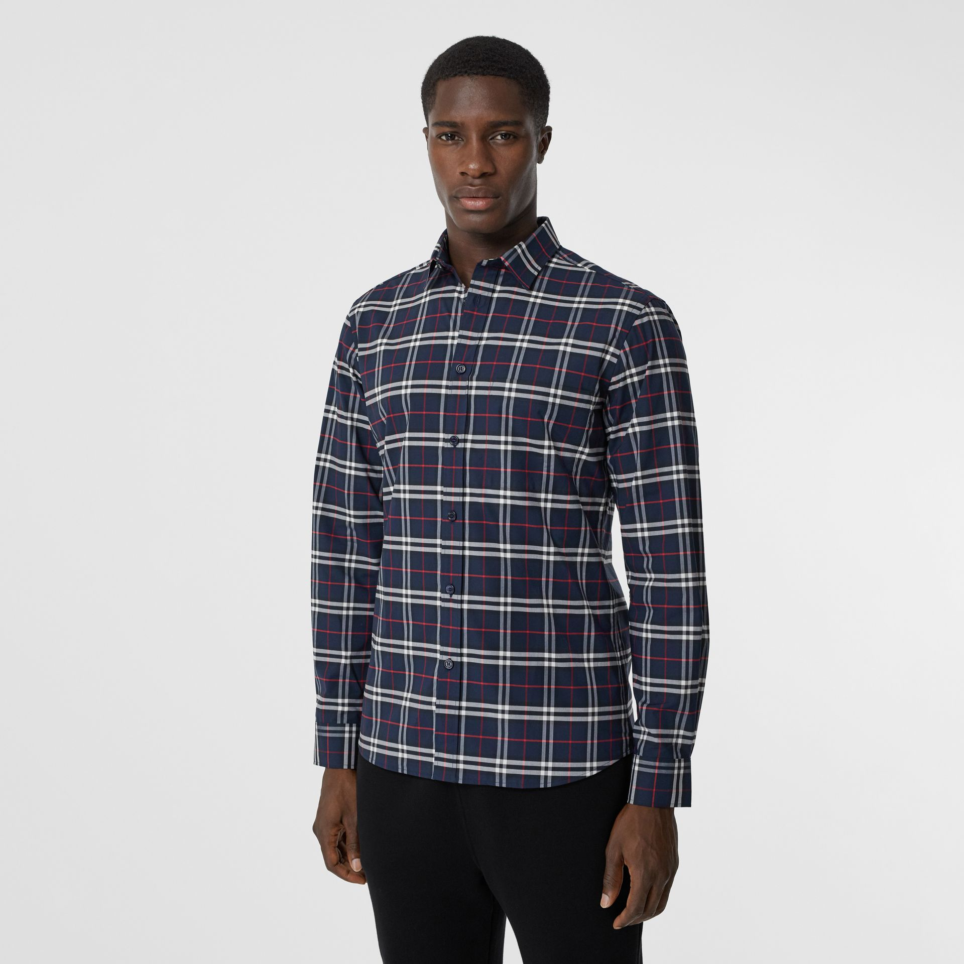 Small Scale Check Stretch Cotton Shirt in Navy - Men | Burberry - gallery image 4
