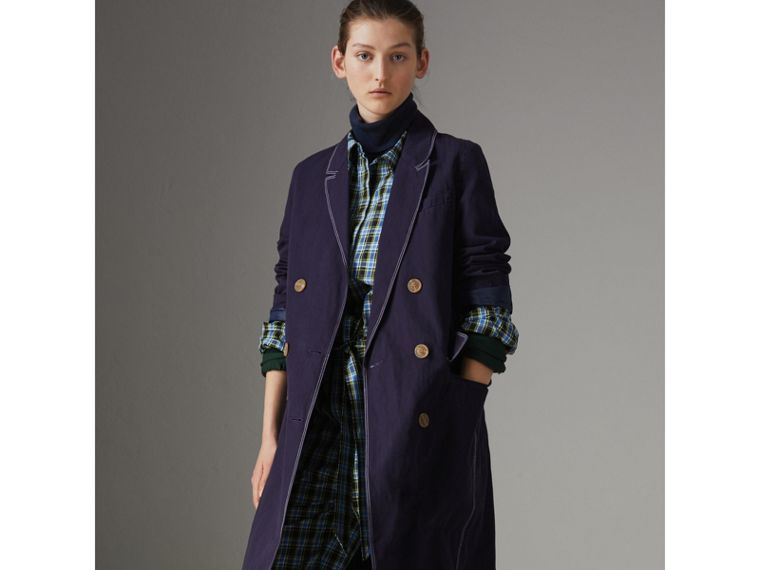 Topstitched Cotton Linen Double-breasted Coat in Deep Indigo - Women | Burberry - cell image 4