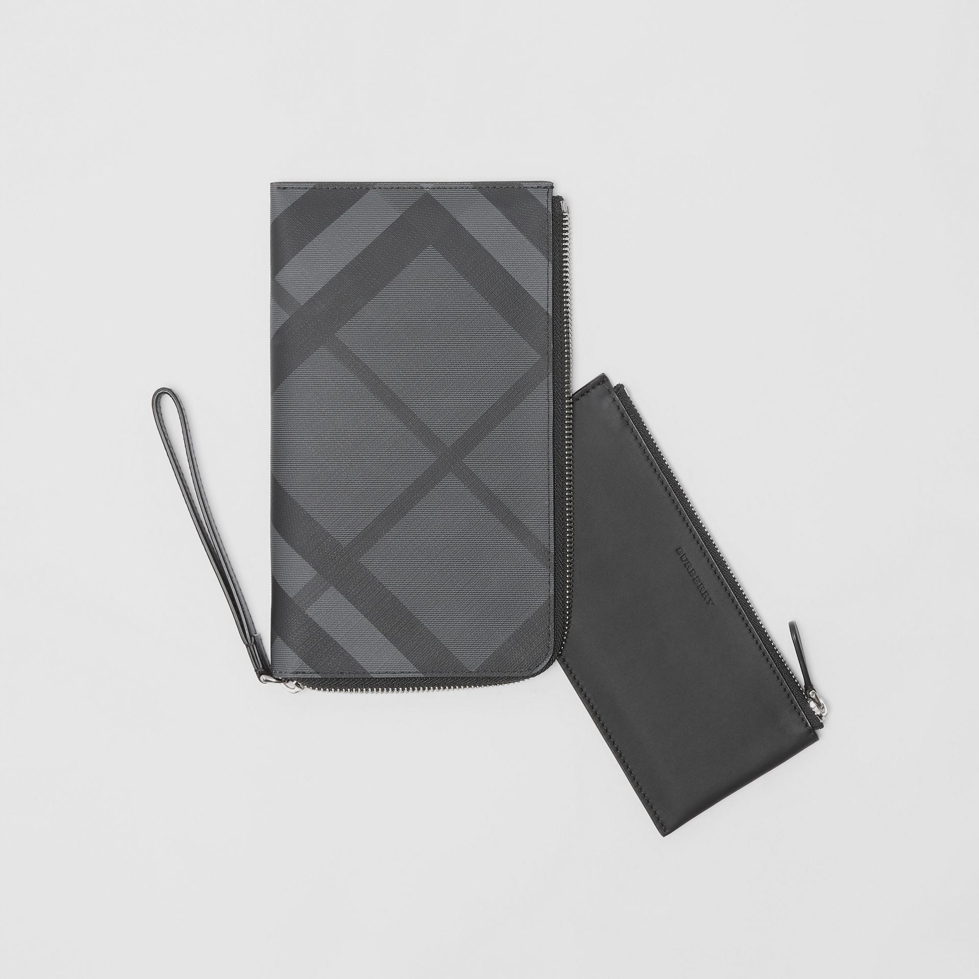London Check and Leather Travel Wallet in Charcoal/black - Men | Burberry United States - gallery image 5